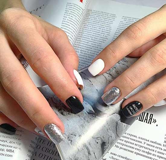 Черно-белый с серебром - дизайн коротких ногтей