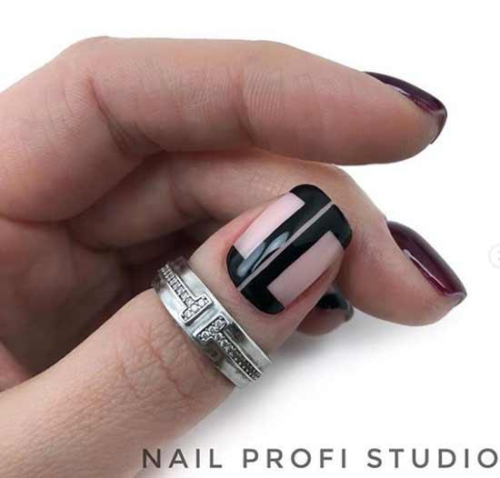 Черная геометрия на коротких ногтях фото