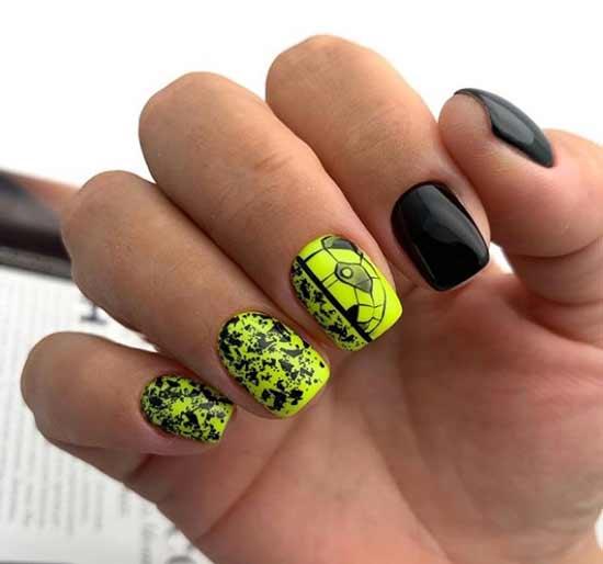 Черный + электрик маникюр коротких ногтей