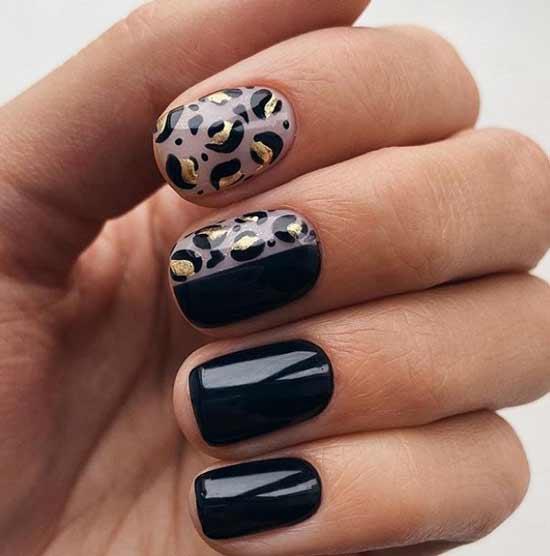 Черный с леопардовым принтом короткий маникюр