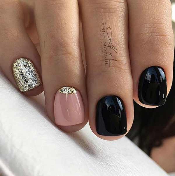 Черно-бежевый маникюр короткие ногти