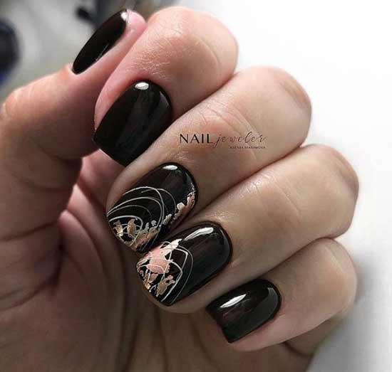 Бордовые ногти с дизайном паутинка
