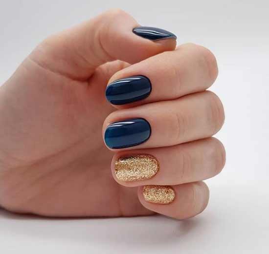 Сине-золотой дизайн ногтей