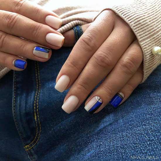 Синий с бежевым дизайн маникюра
