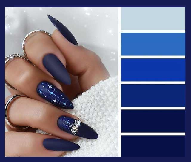 Модные оттенки синего маникюра и дизайн