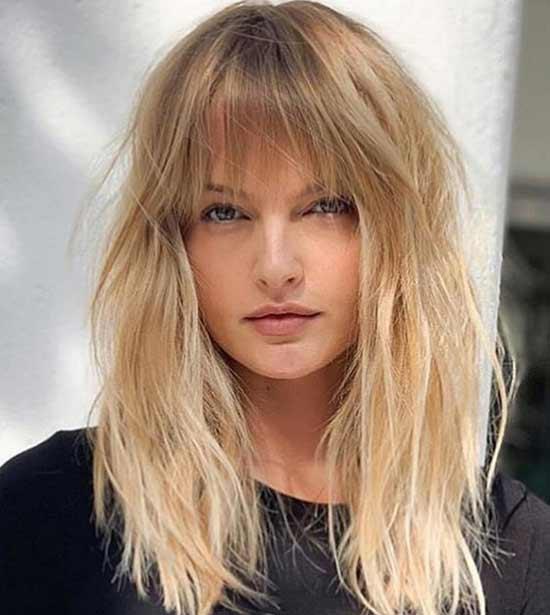 Модная стрижка и укладка на длинные волосы с челкой