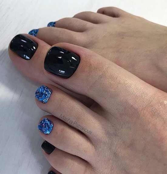 Синий с черным дизайн ногтей ног
