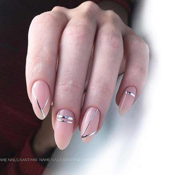 Геометрия на ногтях липкими лентами