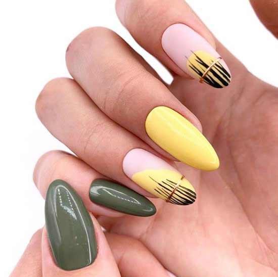 Геометрия на ярком фоне ногтей