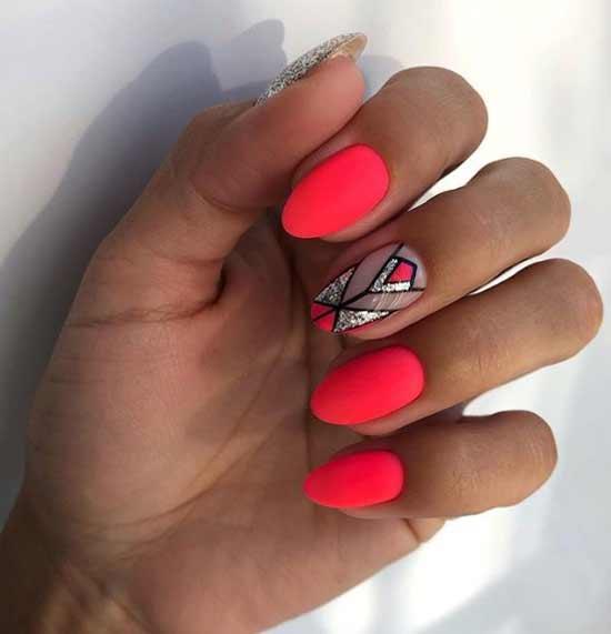 Яркий геометрический дизайн ногтей