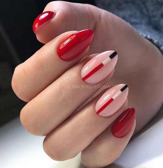 Красный цвет ногтей с геометрией