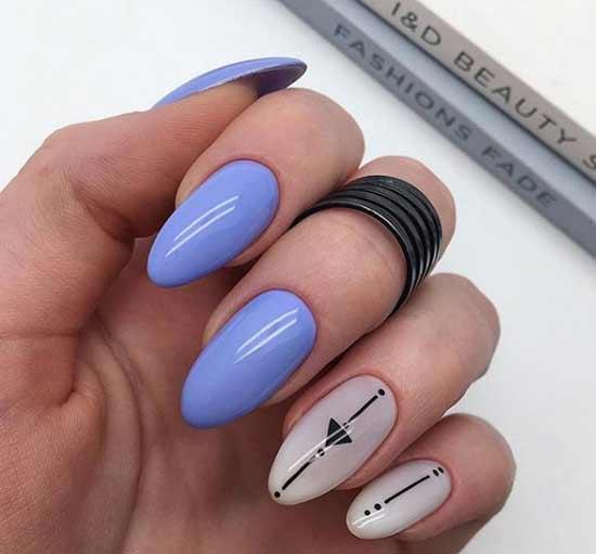 Красивый геометрический узор на ногтях