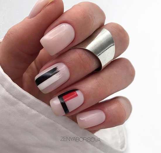 Нюдовая геометрия на ногтях
