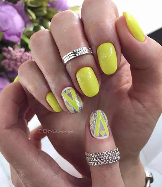 Неоновая геометрия на ногтях