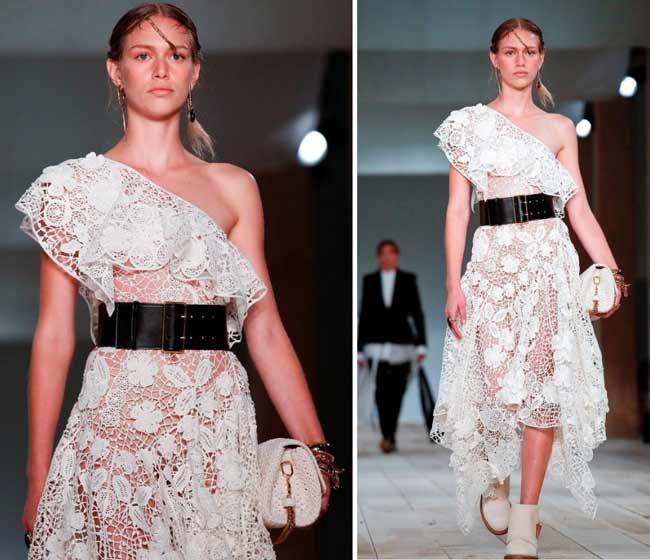 Alexander McQueen - платье кружево асимметрия