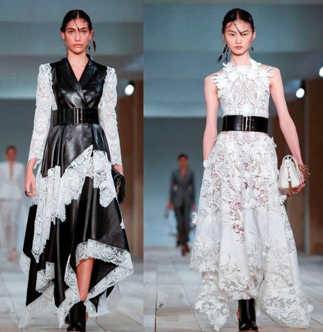 Самые модные платья с кружевом и тонкой кожей