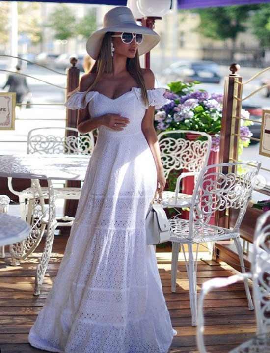 Кружевное платье со шляпой аутфит