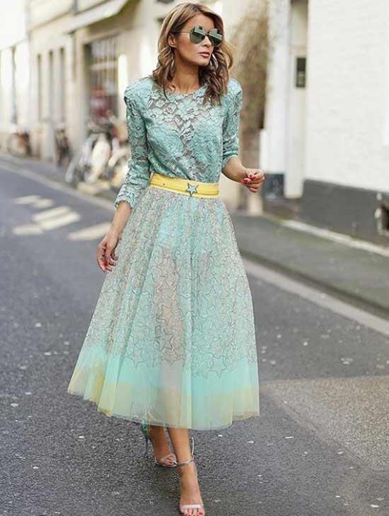 Платье в мятных тонах