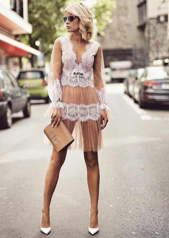 Платье цветное кружевное