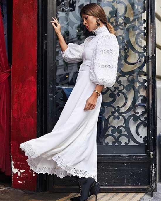 Белое платье с объемными рукави
