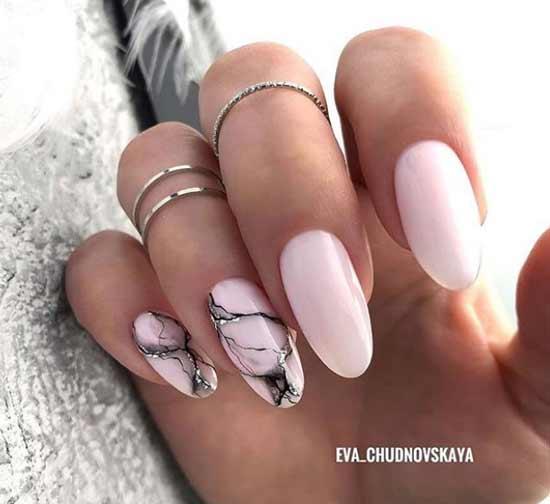 Мраморный маникюр длинные ногти