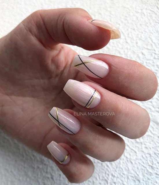 Длинные ногти балерина с геометрией