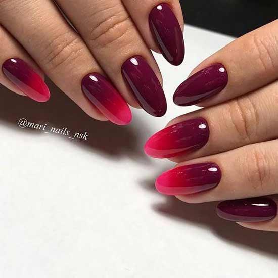 Шикарное омбре в темно-красных оттенках