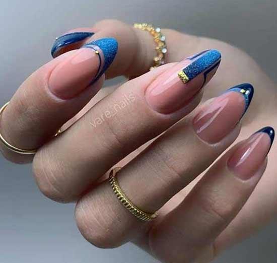 Геометрический френч в сине-голубых тонах