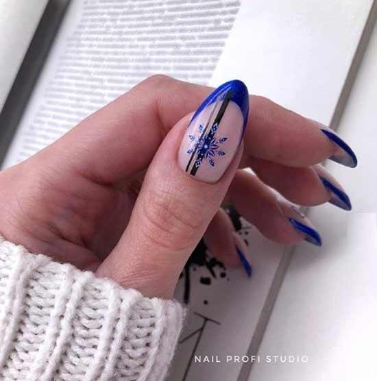 Синий со снежинкой френч