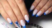 Новинки: синий френч 2020 с дизайном, фото, тенденции