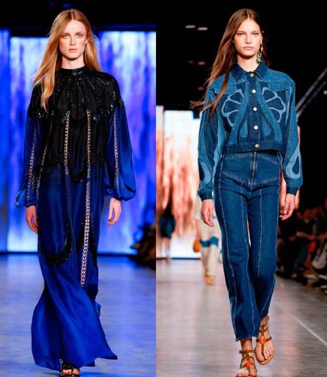 Модные образы 2020 с подиумов в синем цвете