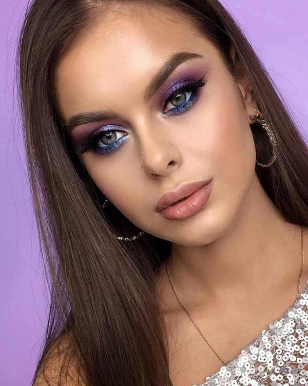Модный макияж в фиолетово-синих тонах