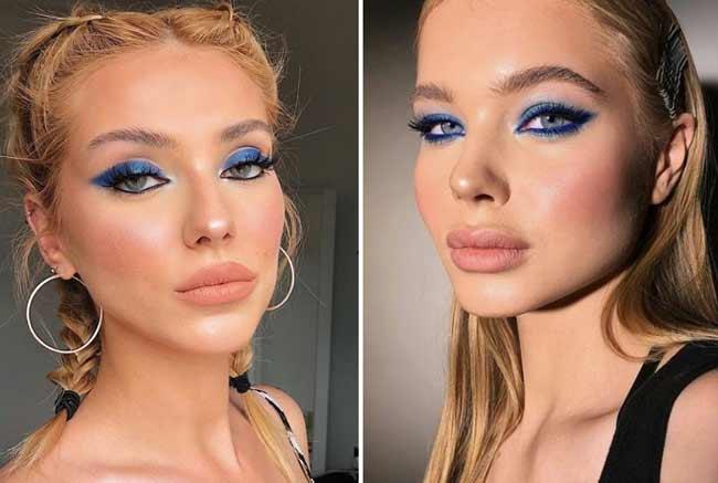 Модный макияж в синих тонах