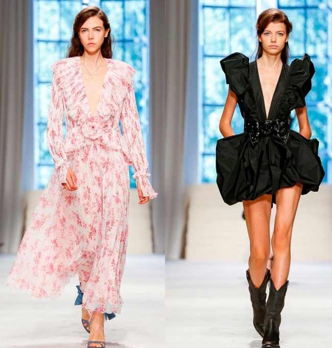 Глубокие вырезы на платьях мода 2020