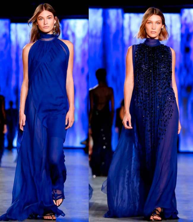 Макси-платья в классическом синем цвете 2020