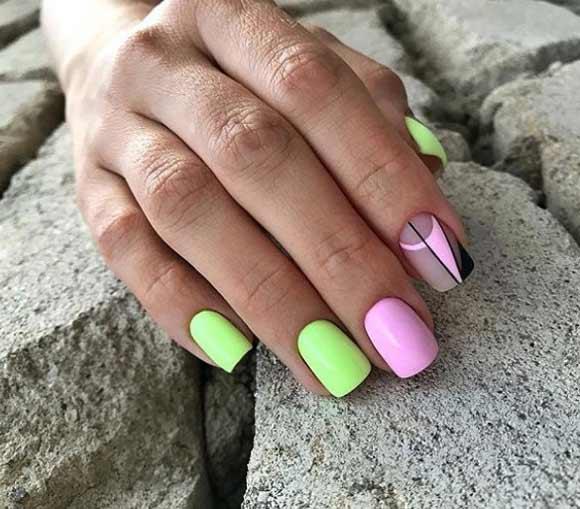 Геометрический дизайн ногтей на весну