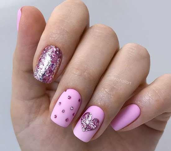 Розовый весенний дизайн ногтей