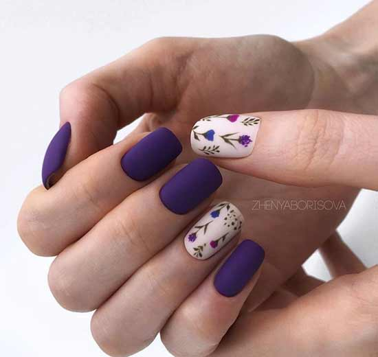 Темный весенний маникюр на короткие ногти