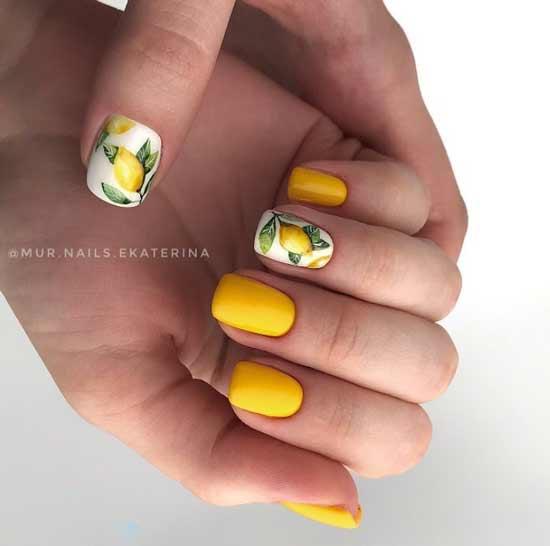 Желтый нейл-арт лимон