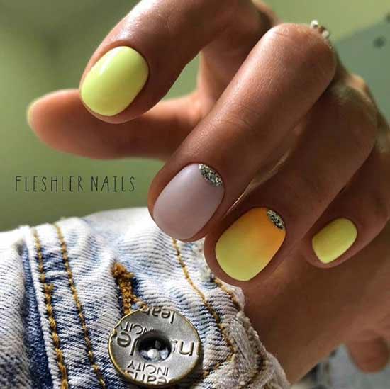 Желто-оранжевый градиент на ногтях