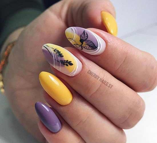 Желтый маникюр лето