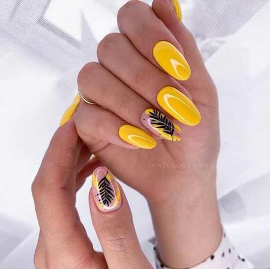 Лето дизайн ногтей в желтом цвете