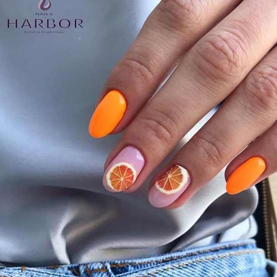 Маникюр с рисунком апельсины