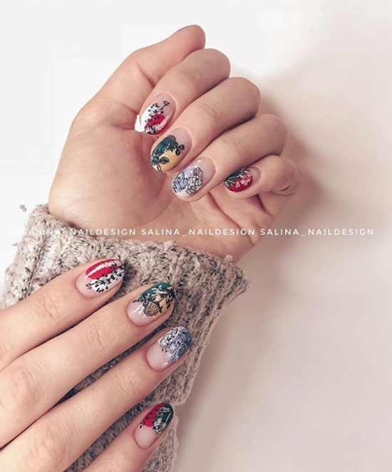 Растительно-цветочная тематика на ногтях