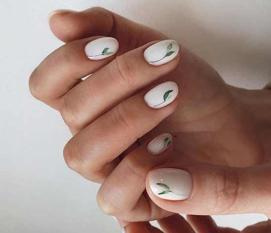 Весенние цветы в стиле минимализм на ногтях