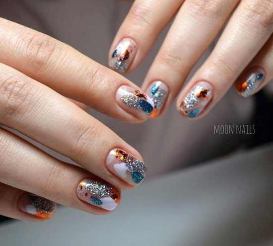 весна блестки фольга на ногтях