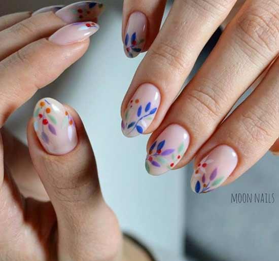 цветочки и веточки на ногтях