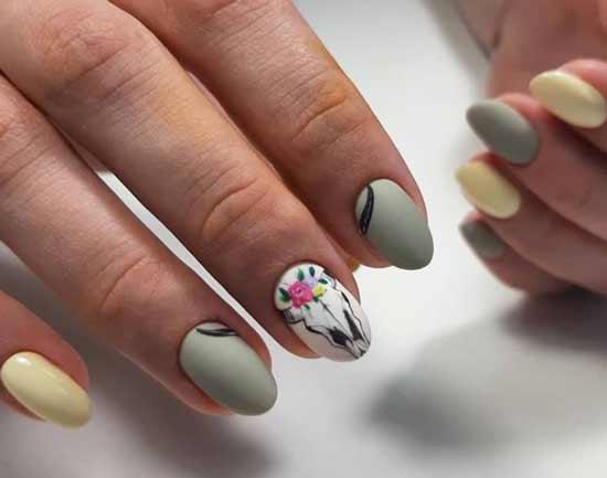 растительная тематика на ногтях