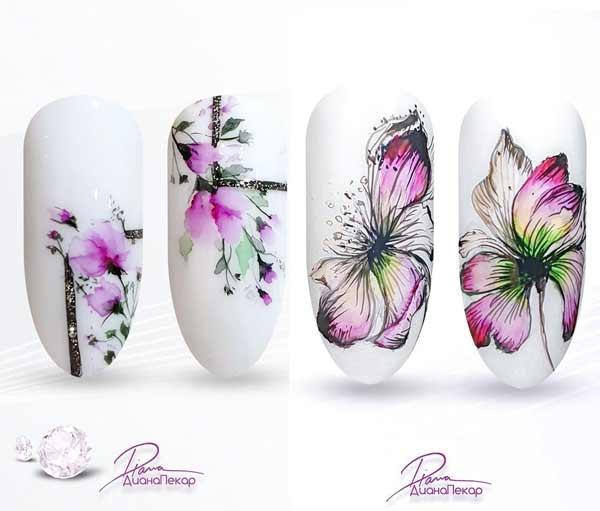 Аква-маникюр цветы