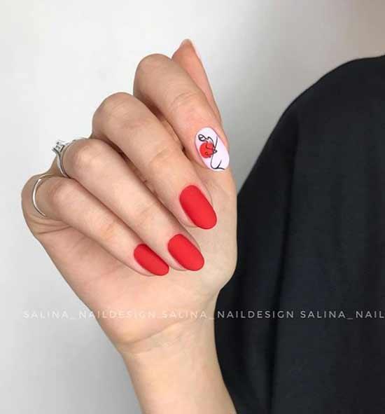 Красный матовый маникюр с рисунком